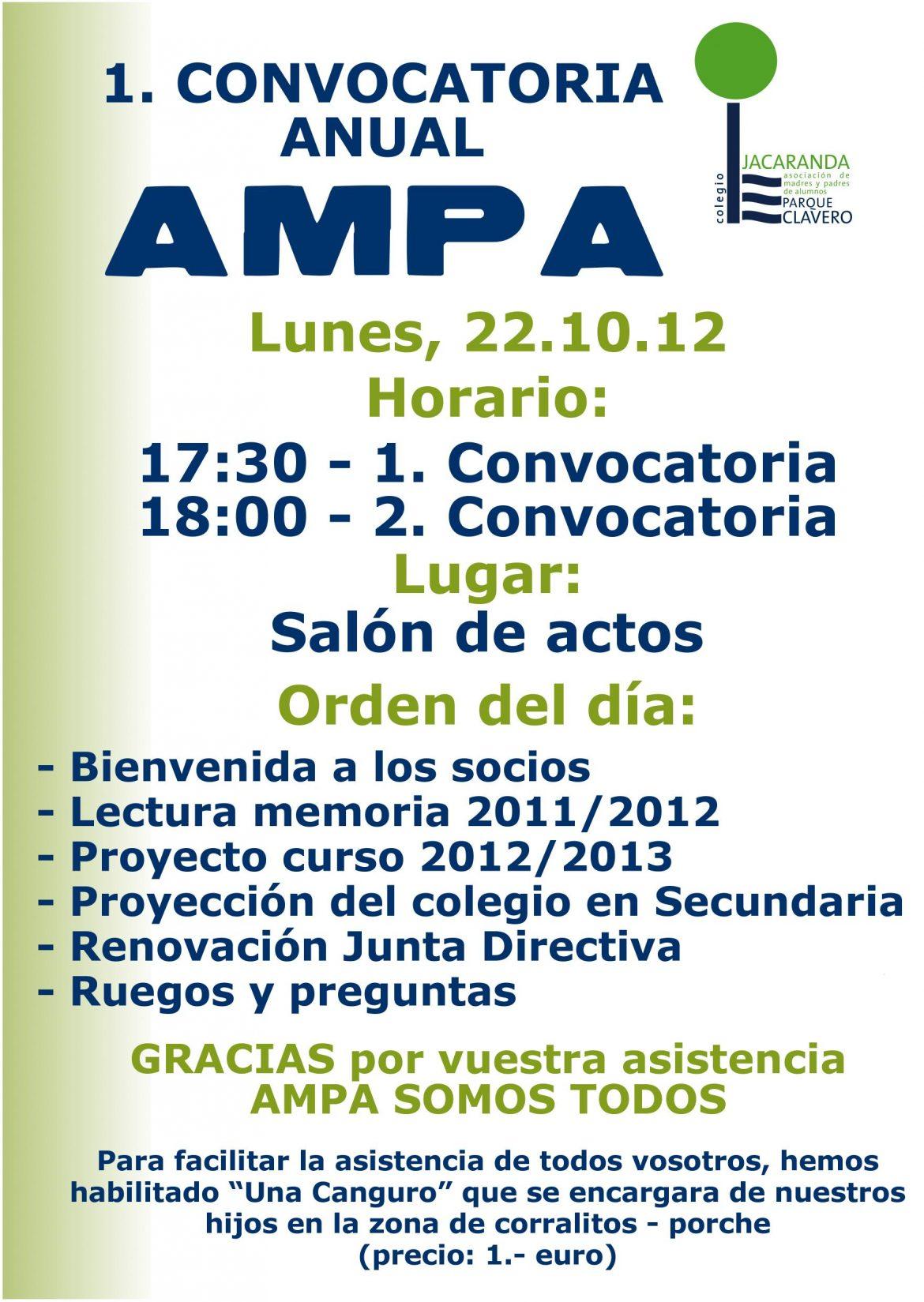 Convocatoria anual AMPA Jacaranda