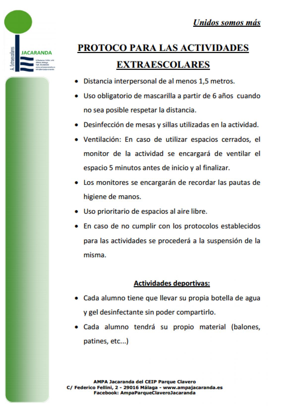 Protocolo actividades extraescolares