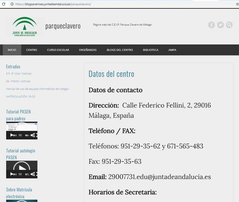 Datos del centro y horario secretaría